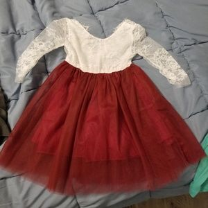 Burgundy/maroon lace flower girl dress